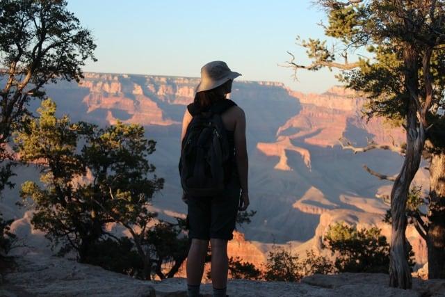 girl gazes grand canyon