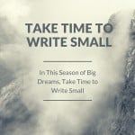 #28: In This Season of Big Dreams, Take Time to Write Small