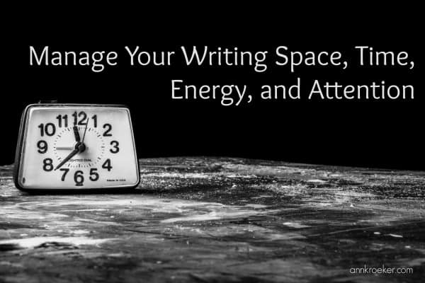 clock against black background - manage your writing space, time, energy, and attention