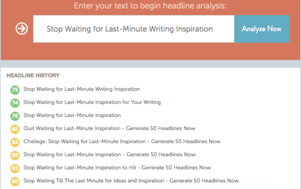 Screen Shot of CoSchedule Headline Analyzer at work