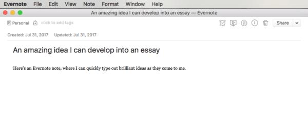 Evernote Note screenshot