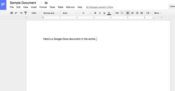 Google Docs screenshot - sample