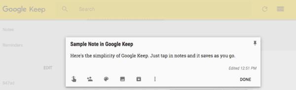Screenshot of a Google Keep Note