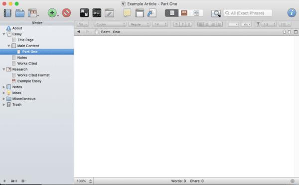 Screenshot of Scrivener