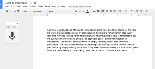 Google Docs Voice Typing - a great way to write with your voice